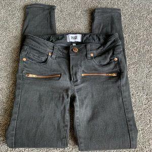 Paige Skinny Zipper Jeans in Gray Black